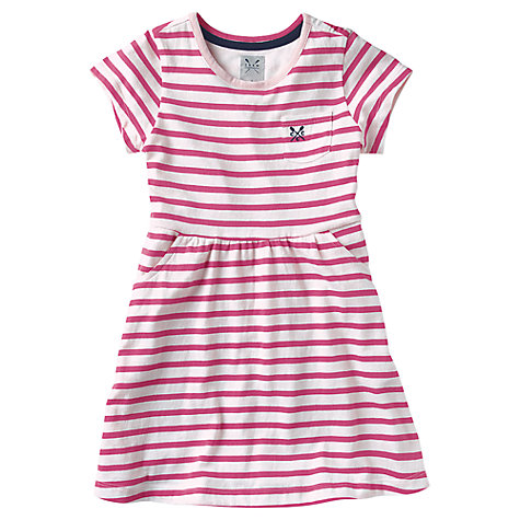 Buy Crew Clothing Girls' Polly Striped Dress, Pink/White Online at johnlewis.com