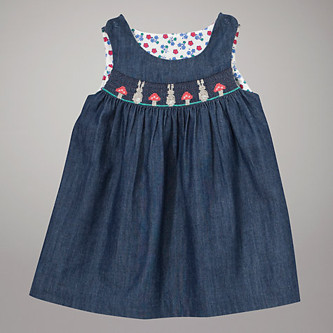 Buy John Lewis Baby Smock Chambray Pinafore Dress, Blue Online at johnlewis.com