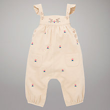 Buy John Lewis Baby Embroidered Dungarees, Cream Online at johnlewis.com
