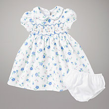 Buy John Lewis Floral Smock Dress, Blue Online at johnlewis.com