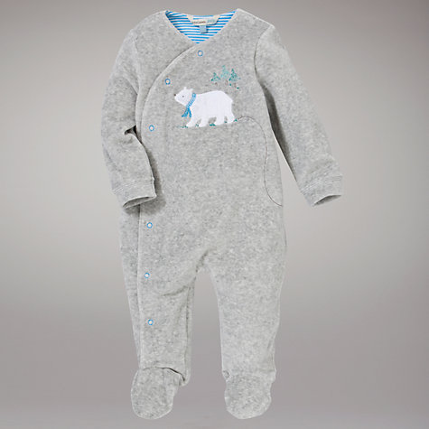 Buy John Lewis Baby Bear Velour Sleepsuit, Grey Online at johnlewis.com