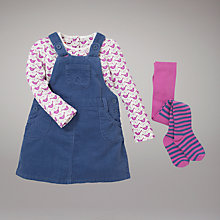 Buy John Lewis Corduroy Pinafore Dress Tights and T-Shirt Set, Multi Online at johnlewis.com