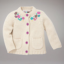 Buy John Lewis Embroidered Cardigan, Cream Online at johnlewis.com
