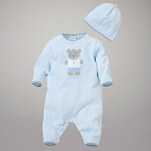 Buy Emile et Rose Teddy Bear Romper with Hat and Teddy, Blue Online at johnlewis.com