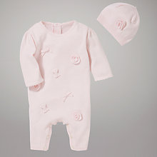 Buy Emile et Rose Flower and Bow Sleepsuit with Hat, Pink Online at johnlewis.com