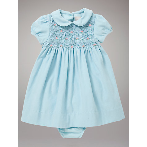 Buy John Lewis Baby Smock Dress with Rose Embroidery, Blue Online at johnlewis.com