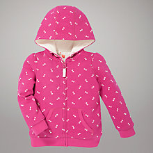 Buy John Lewis Spotted Zip Through Hoodie, Pink Online at johnlewis.com