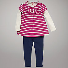 Buy John Lewis Striped Jersey Top and Leggings, Pink Online at johnlewis.com