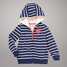Buy John Lewis Striped Zip Through Hoodie, Navy Online at johnlewis.com