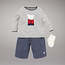 Buy Emile et Rose Teddy Jumper and Trouser Set, Grey/Blue Online at johnlewis.com