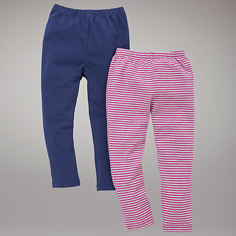Buy John Lewis Striped and Plain Leggings, Pack of 2, Pink/Grey and Navy Online at johnlewis.com