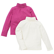 Buy John Lewis Roll Neck Top, 2 Pack, Pink/Cream Online at johnlewis.com