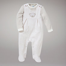 Buy John Lewis Baby Bear Dungaree Set, Cream Online at johnlewis.com