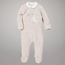 Buy John Lewis Baby Teddy/Rabbit Striped Velour Sleepsuit, Neutral Online at johnlewis.com