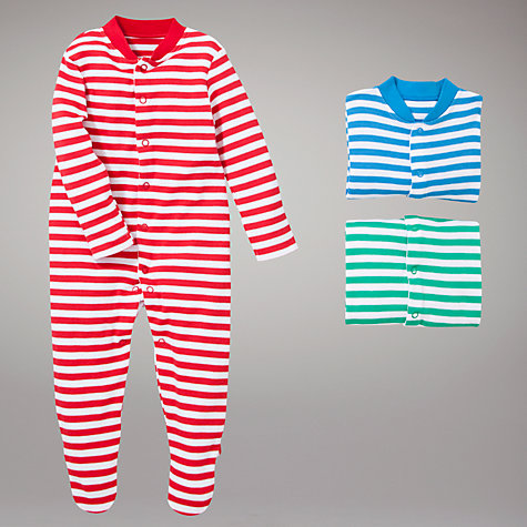 Buy John Lewis Baby Striped Sleepsuits, Pack of 3, Multi Online at johnlewis.com