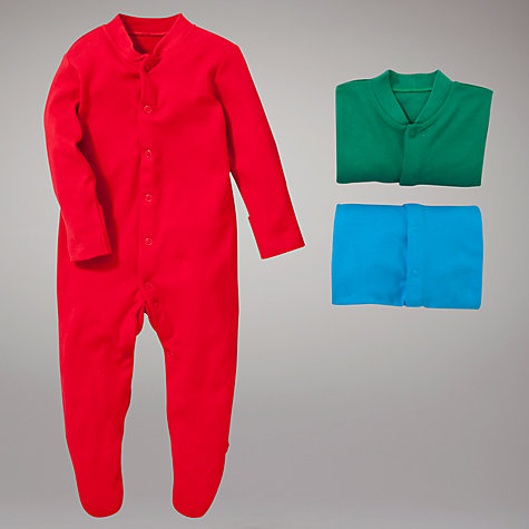 Buy John Lewis Baby Plain Sleepsuits, Pack of 3, Multi Online at johnlewis.com