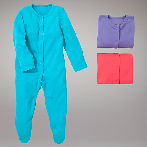 Buy John Lewis Baby Plain Sleepsuits, Pack of 3, Bright Pastels Online at johnlewis.com