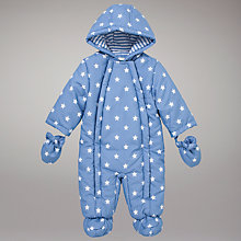Buy John Lewis Baby Star Print Snowsuit, Blue Online at johnlewis.com