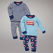 Buy John Lewis Bus Pyjamas, Pack of 2, Blue Online at johnlewis.com