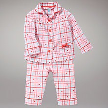 Buy John Lewis Heart Checked Pyjamas, Pink Online at johnlewis.com