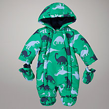 Buy John Lewis Baby Dinosaur Print Snowsuit, Green Online at johnlewis.com