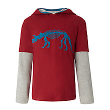 Buy John Lewis Boy Dinosaur Hooded Top, Red Online at johnlewis.com