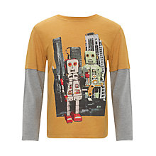 Buy John Lewis Boy Mock Sleeve Robot T-Shirt, Orange Online at johnlewis.com