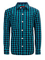 John Lewis Boy Long Sleeved Gingham Shirt, Blue