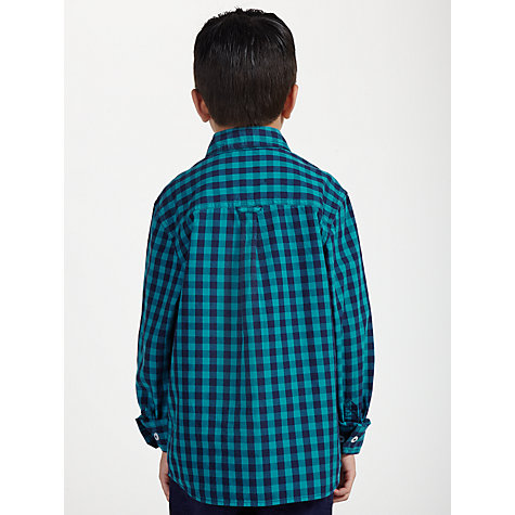 Buy John Lewis Boy Long Sleeved Gingham Shirt, Blue Online at johnlewis.com