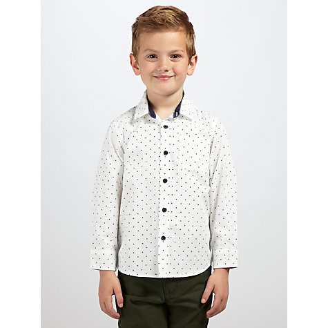 Buy John Lewis Boy Cross Print Shirt, Cream Online at johnlewis.com