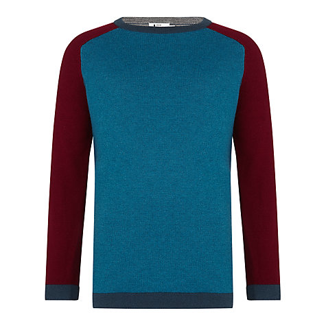 Buy Kin by John Lewis Contrast Panel Jumper, Turquoise/Red Online at johnlewis.com