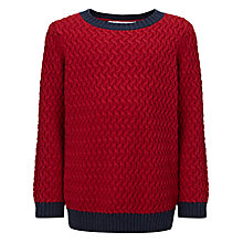 Buy John Lewis Boy Cable Knit Jumper, Red Online at johnlewis.com