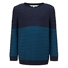 Buy John Lewis Boy Basketweave Jumper, Teal/Navy Online at johnlewis.com