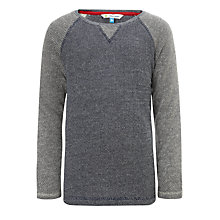 Buy John Lewis Boy Contrast Sleeve Crew Neck Top, Grey/Blue Online at johnlewis.com