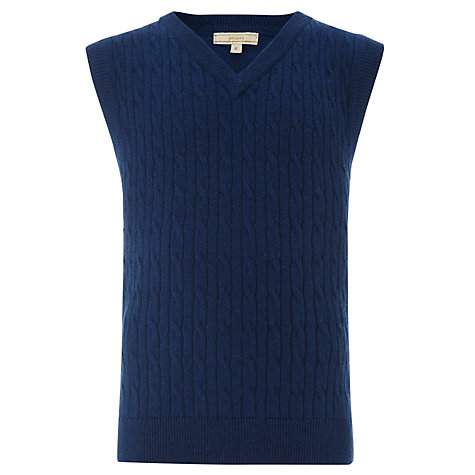 Buy John Lewis Heirloom Collection V-Neck Cable Knit Tank Top, Navy Online at johnlewis.com