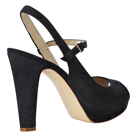 Buy Hobbs Lynne Suede Slingback Sandals, Navy Online at johnlewis.com