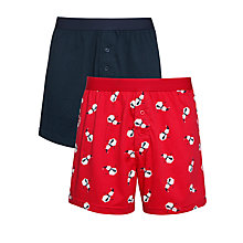 Buy John Lewis Snowman and Plain Boxers, Pack of 2, Red/Navy Online at johnlewis.com