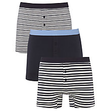Buy John Lewis Stripe and Plain Cotton Trunks, Pack of 3, Blue Online at johnlewis.com