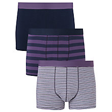 Buy John Lewis Organic Cotton Hipster Stripe Trunks, Pack of 3 Online at johnlewis.com