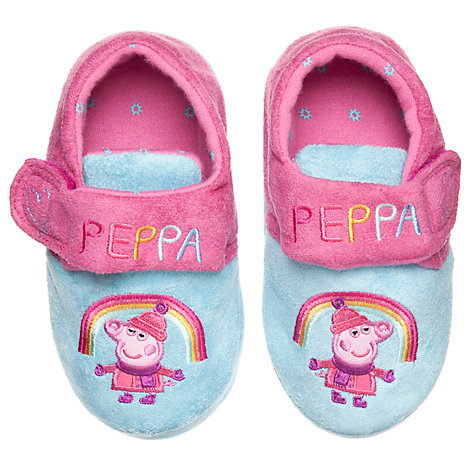 Buy Peppa Pig Rainbow Slippers, Pink/Blue Online at johnlewis.com