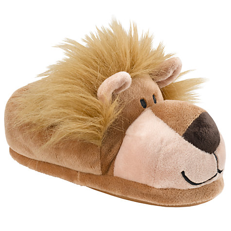 Buy John Lewis Lion Slippers, Brown Online at johnlewis.com