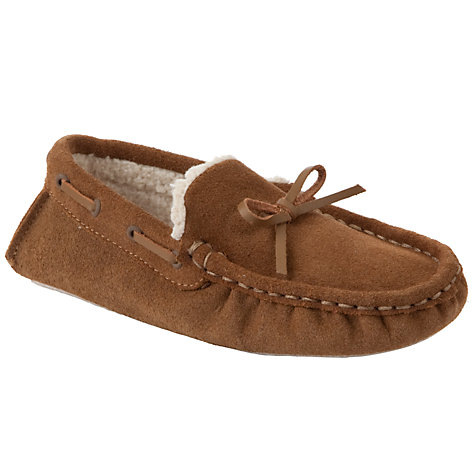 Buy John Lewis Boy Moccasin Slippers, Brown Online at johnlewis.com