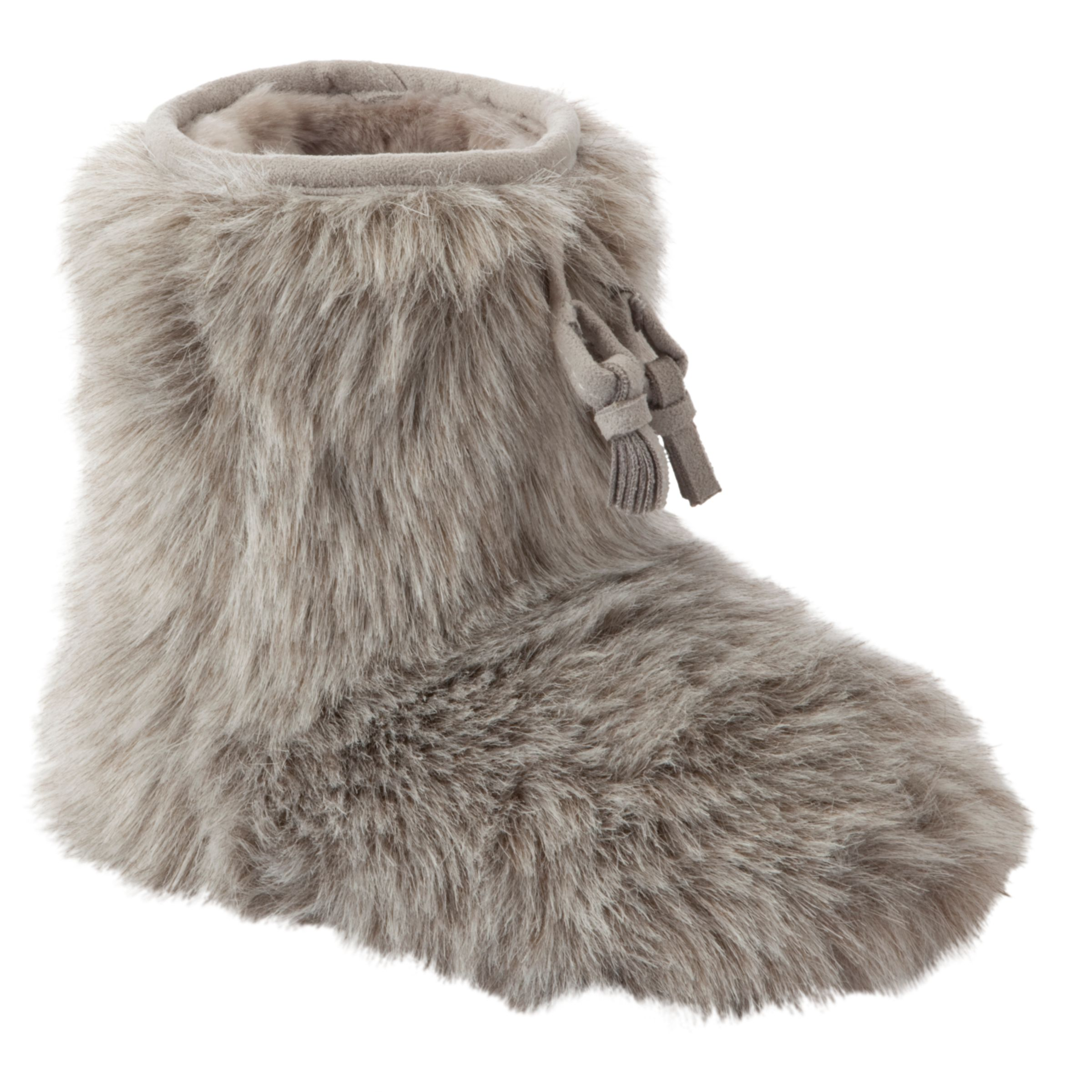 John Lewis Girl Furry Boot Slippers, Grey