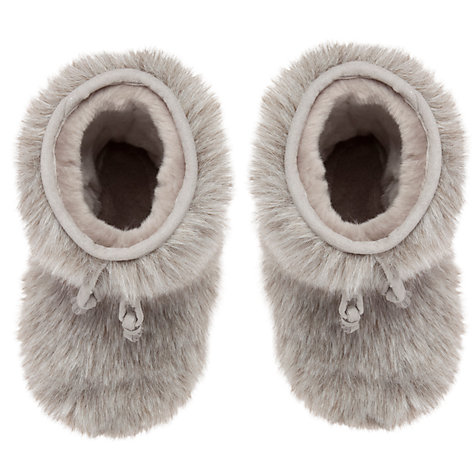 Buy John Lewis Girl Furry Boot Slippers, Grey Online at johnlewis.com
