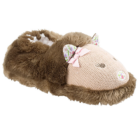 Buy John Lewis Girl Hedgehog Slippers, Brown Online at johnlewis.com