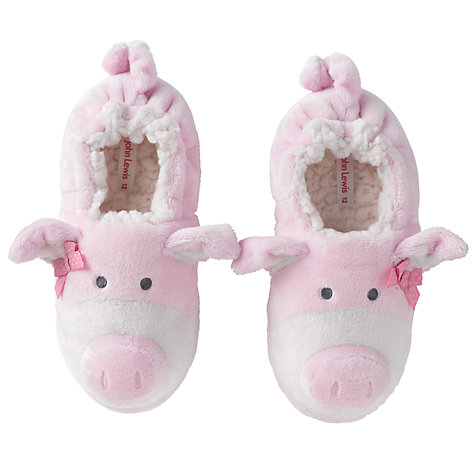 Buy John Lewis Girl Pig Slippers, Pink Online at johnlewis.com