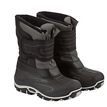 Buy John Lewis Childrens' Rip Tape Snow Boots, Black/Grey Online at johnlewis.com