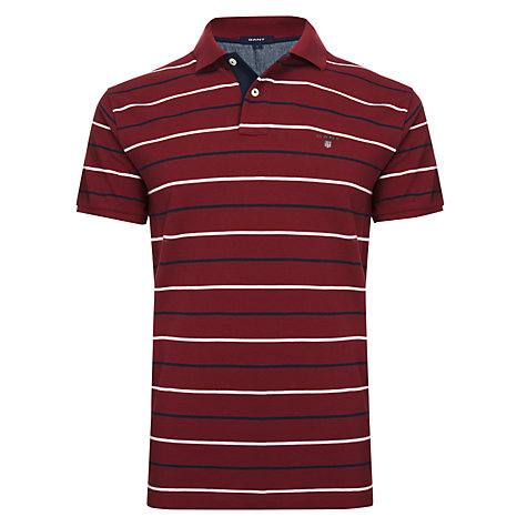 Buy Gant Rugger Fine Breton Stripe Pique Polo Shirt Online at johnlewis.com