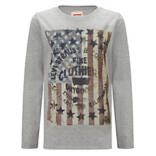Buy Levi's Boys' Long Sleeve August Flag Top, Grey Online at johnlewis.com