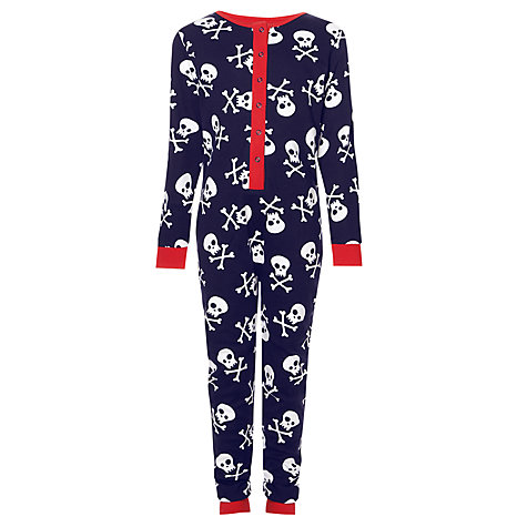 Buy John Lewis Boy Skull and Crossbones Onesie, Navy/White Online at johnlewis.com
